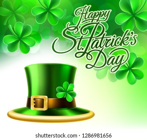 A Happy St Patricks Day shamrock clover leaf background sign with a green leprechaun hat