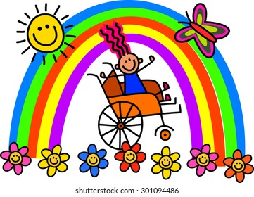 Happy stick disabled girl sitting in a wheelchair with a rainbow over her.