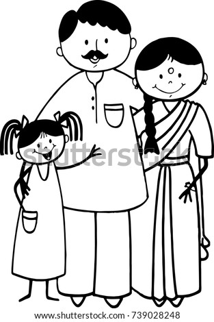 Happy Stick Figure Indian Family Stock Illustration Royalty Free