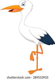 Happy stork cartoon