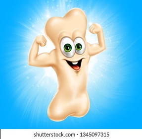 happy strong bone cartoon character. 3d illustration