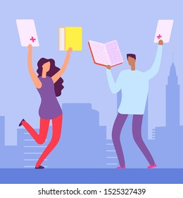 Happy students with books and exellent marks for the tests. Education illustration