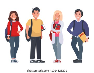Happy students with books on an isolated background. Young people with books and backpacks. illustration