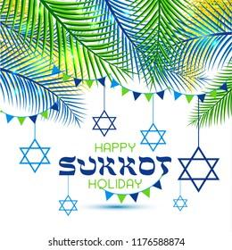 Happy Sukkot Holiday. Jewish Holiday Sukkot. Jewish new year. Autumn Fest. Rosh Hashana Israel Sukkah. Palm tree leaves frame.