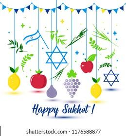 Happy Sukkot Holiday. Jewish Holiday Sukkot. Jewish new year. Autumn Fest. Rosh Hashana Israel Sukkah. Palm tree leaves and fruits.