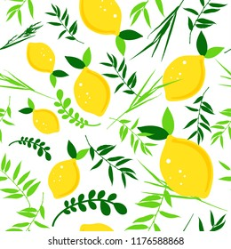 Happy Sukkot seamless pattern. Jewish holiday endless background. Repeating texture with plant and lemons.
