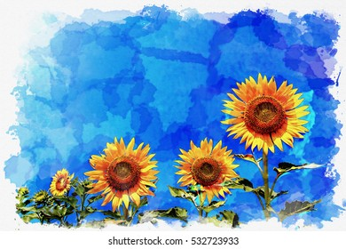 happy sunflower on blue sky,water color effect.