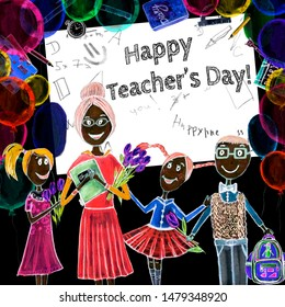 Happy teacher's day. Hand drawn, watercolor, young woman teacher cartoon character and cute pupils standing near blackboard, baloons. Back to school concept.