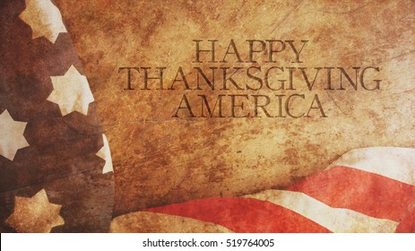 Happy Thanksgiving America. Flag and Wood