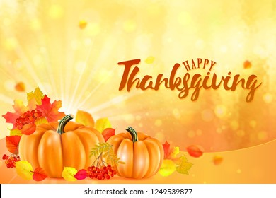 Happy Thanksgiving background with autumn vegetables and colorful leaves. .
