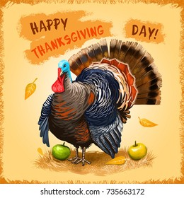 Happy Thanksgiving Day advertising poster, promotional banner. National holiday of blessing harvest. Digital art illustration of cute turkey with autumn harvest. Graphic clip art greeting card design