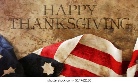 Happy Thanksgiving Day. Usa Flag on Wood