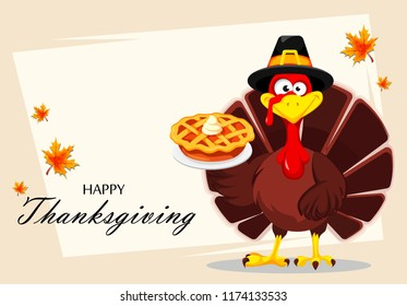Happy Thanksgiving, greeting card, poster or flyer for holiday. Thanksgiving turkey holding delicious pie. Raster illustration on abstract light background