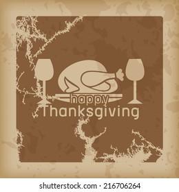 Happy Thanksgiving retro style. Vintage background (Raster) - Shutterstock ID 216706264