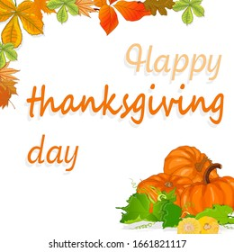Happy Thanksgiving script with pumpkins and leaves illustration on white background.