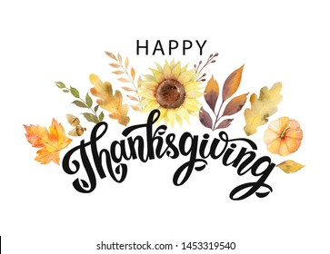 Happy thanksgiving text with watercolor autumn leaves and branches isolated on white background. Autumn illustration for greeting cards, quote and decorations. Hand drawn lettering.