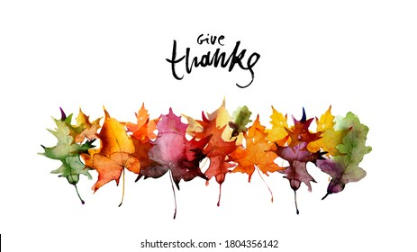 Happy thanksgiving text with watercolor autumn leaves and branches isolated on white background. Autumn illustration for greeting cards, invitations, blogs, posters, quote and wallpaper.