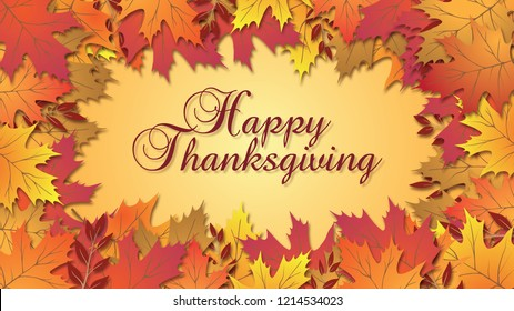 Happy Thanksgiving type with beautiful fall colored leaves