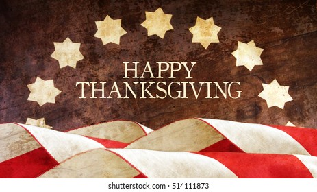 Happy Thanksgiving. Usa Flag on Wood