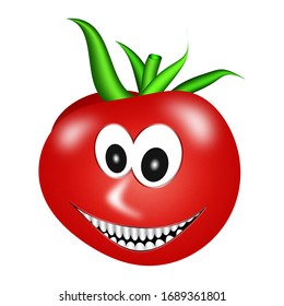 Happy tomato with a face isolated on white background