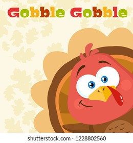 Happy Turkey Bird Cartoon Character Waving From A Corner. Raster Illustration Flat Design With Background And Text