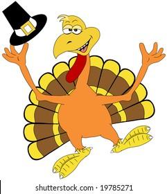 Happy turkey illustration.