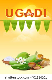 Happy Ugadi. Template greeting card for holiday. Illustration