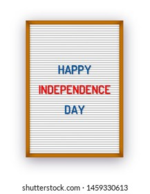 Happy USA Independence day card on letterboard with plastic letters. 4th of July holiday poster.