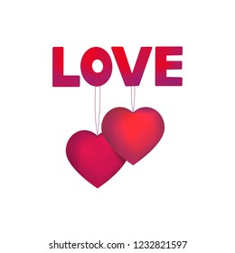 Happy Valentine, Love words and beautiful hearts shapes. Decorative red greeting element.