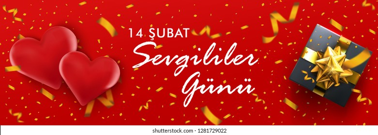 Happy Valentine's Day with 3d hearts and 3d gift box on red background. 3d render.  Quote in Turkish ' 14 şubat Sevgililer günü kutlu' - translation:' 14th of February Valentine's day'.