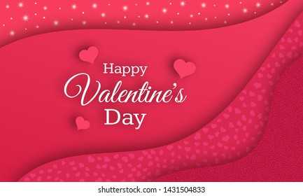 Happy Valentines Day Background. Red greeting horizontal banner with text and hearts