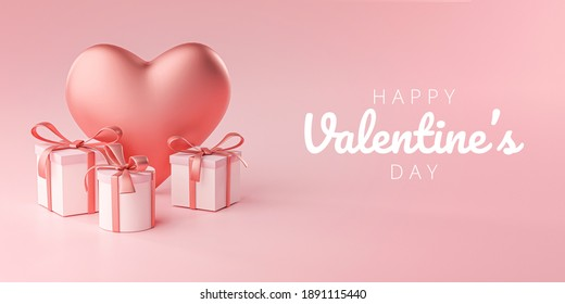 Happy Valentine's Day Banner Greeting Card Big Heart Shape and Gift Box 3D Rendering