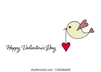 Happy Valentines Day card with bird carrying heart
