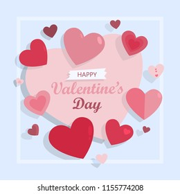 Happy valentines day card for greeting with hearts.
