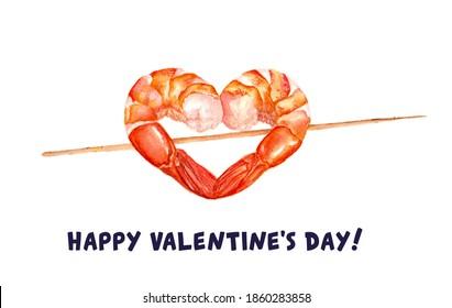 Happy valentines day Card Love heart symbol Shrimp Traditional food Seafood menu