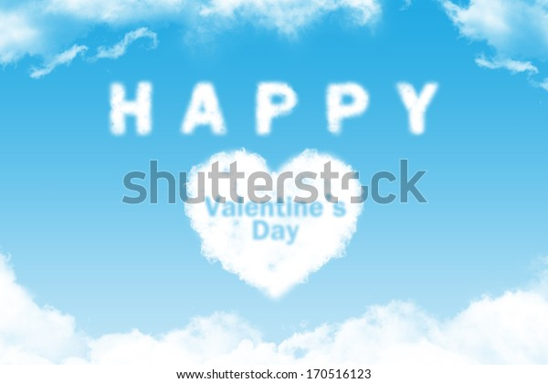 Happy Valentine's Day- cloud word on blue sky background