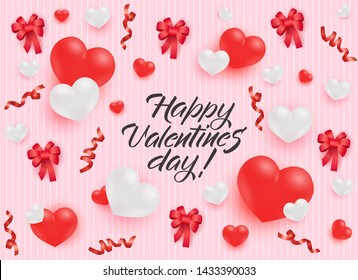 Happy Valentines Day congratulation banner with red and white realistic heart shapes and bows on pastel pink striped background - illustration of romantic greeting card for 14 February.