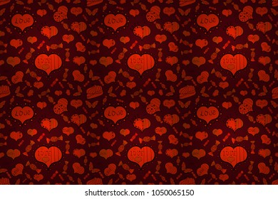 Happy Valentine':s Day. Festive love background. Red, orange. Perfect design element for wallpaper, textile, wedding invitation. Seamless pattern Beautiful handdrawn seamless with hearts. Raster.