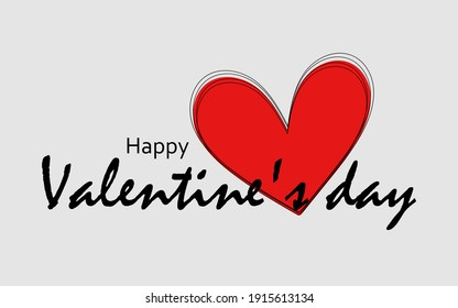 Happy Valentine's Day greeting card with red heart. Cute illustration for printing on cups, business cards, flyers, notebooks, brochures.