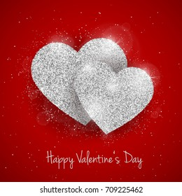 Vector happy valentines day greeting card stock vector royalty free happy valentines day greeting card with sparkling glitter silver textured heart on red background seasonal m4hsunfo