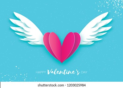 Happy Valentine's Day Greetings card. Origami angel wings and romantic pink heart. Love. Winged heart in paper cut style. Blue sky background.