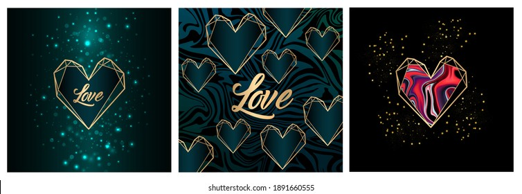 Happy Valentine's day greetings cards. Love shape illustration. Heart collection.