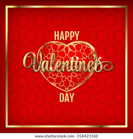 happy valentines day hearts illustration gold stock illustration