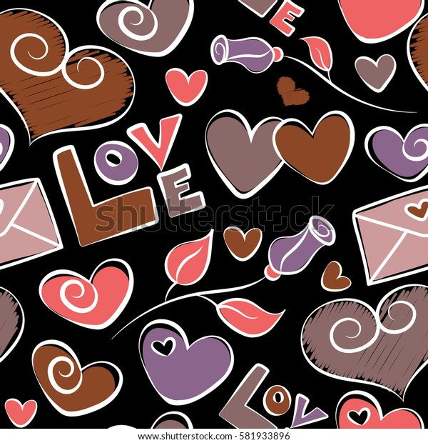 Happy Valentines Day lettering greeting card seamless pattern. Abstract hearts and love symbols on a black background. Festive banner and poster in purple and pink colors.