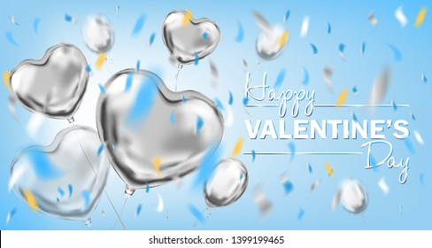 Happy Valentines Day lettering and metallic foil heart shape balloons. Design for Valentine decoration, sky blue background