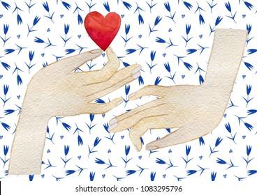 Happy Valentine's Day. Love watercolor card\print