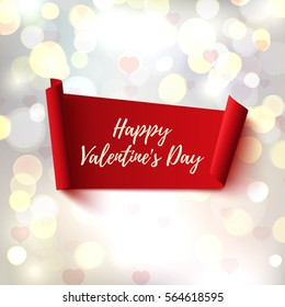 Happy Valentines Day, red, abstract banner on blurred background with hearts and bokeh.
