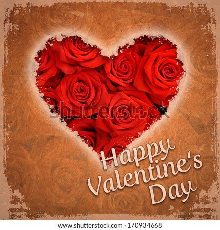 Happy Valentines Day Red Roses Vintage Stock Illustration 170934668