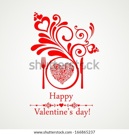 Happy Valentines Day Restaurant Menu Card Stock Illustration