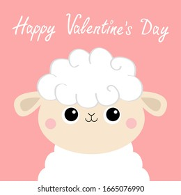 Happy Valentines Day. Sheep lamb face head icon. Cute cartoon kawaii funny smiling baby character. Love greeting card. Flat design. Isolated. Pink background